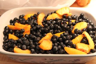 blueberries and peaches prior to crisp topping