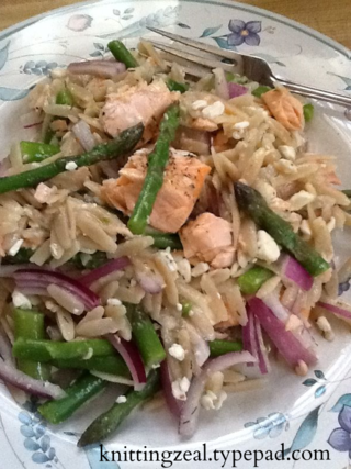 Salmon, asparagus and orzo salad